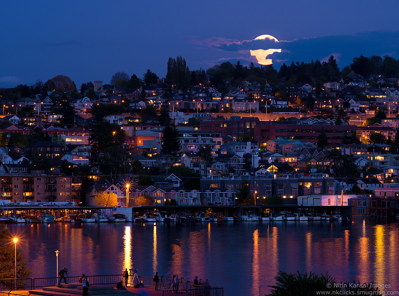 Supermoon on May 5th 2012 , Gasworks Park, Seattle