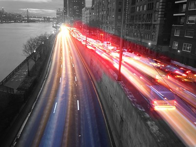 Traffic on the FDR - BW and Color