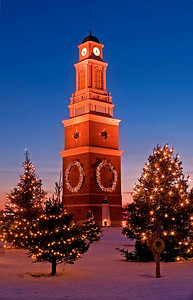 Strongsville Clock Tower at Christmas