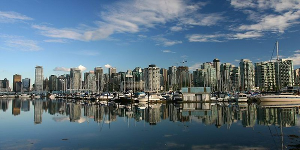 Vancouver skyline reflection