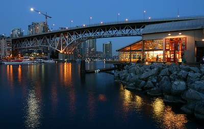 Granville Island Bridge at night