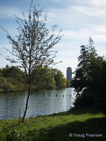 A view of The Long Water, Kensington Gardens, London, UK
