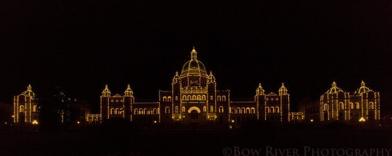 British Columbia Parliament Building at Night.
