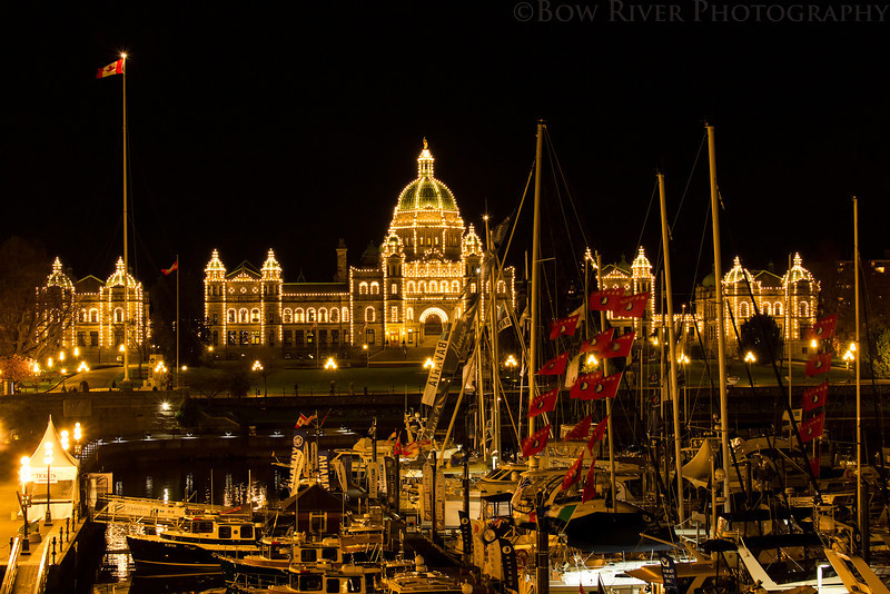 British Columbia Parliament Building and Inner Harbour at Night.
