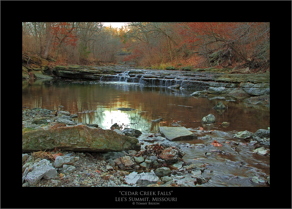 Cedar Creek has some nice little waterfalls in its creek.  The valley that it flows through is a beautiful area to take landscape photography photos here in the Kansas City area.  This image was taken Jan. 1st, 2012.