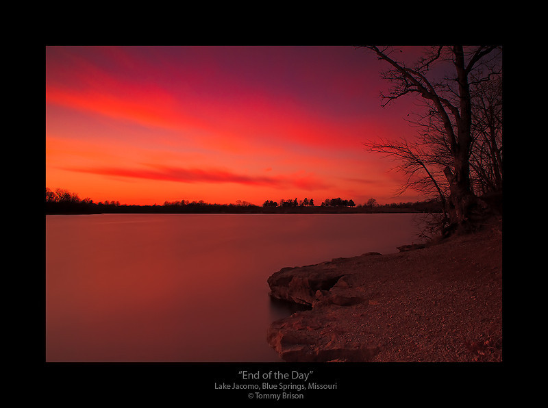 A 141-second exposure of the sunset at Lake Jacomo in Blue Springs, Missouri.  In Kansas City area, we have several areas that makes wonderful landscape shots.