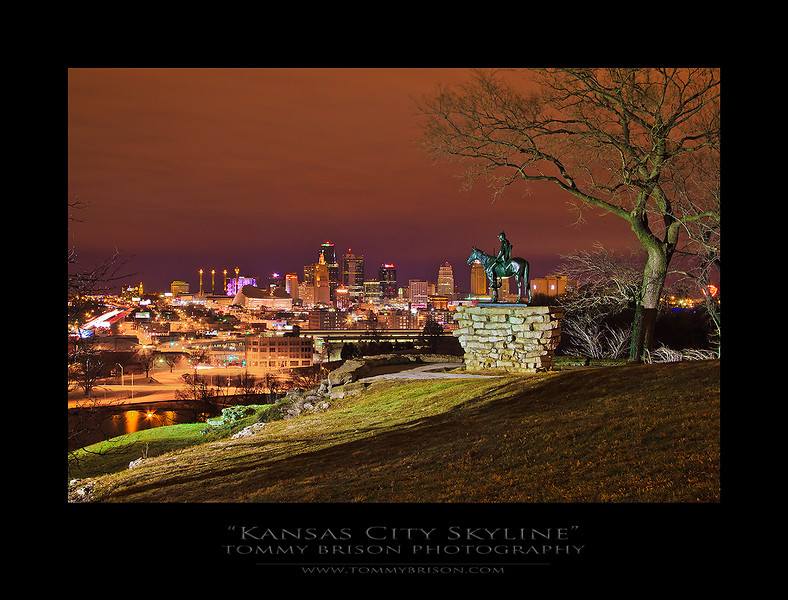 A wonderful view of Kansas City on a colorful cloudy night.