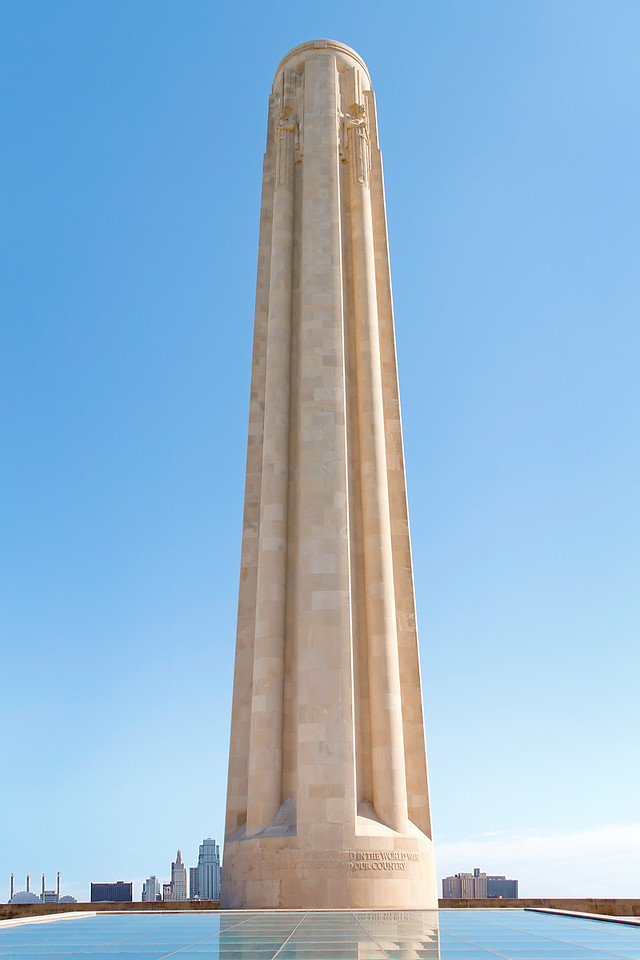 The Liberty Memorial is in Kansas City and the tower is 217-foot tall.  It is a memorial to the fallen soldiers of World War I.  It is Located in Penn Valley Park.