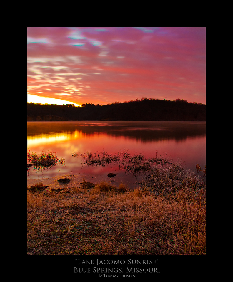 Reasons like this is why I love to get out of the bed early to start shooting.  Taken at Lake Jacomo on the sunrise of Dec. 26th, 2011.