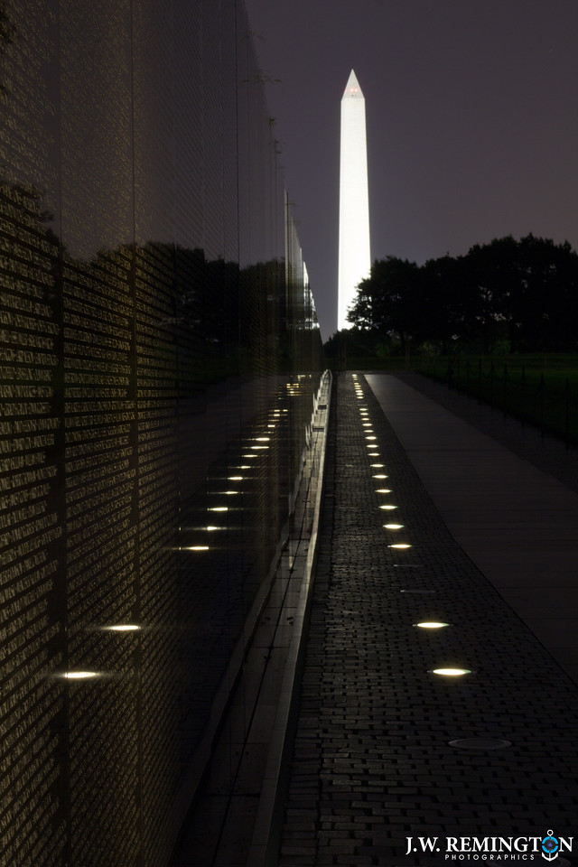 Washington Monument as Seen from Vietnam Veterans Memorial at Night