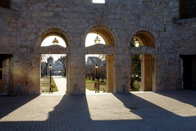 From inside the remaining walls of the St. Boniface Cathedral, looking toward downtown Winnipeg.