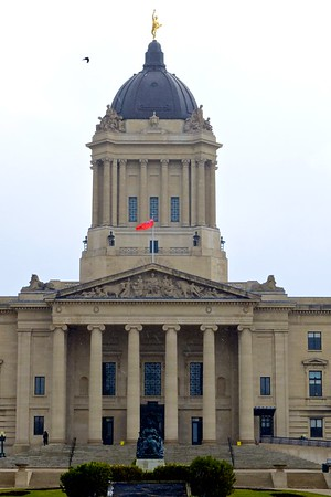 Manitoba Legislature with the Golden Boy, a crow passing by, and a few flurries.