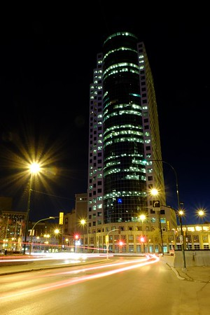 Portage and Main, downtown Winnipeg, later in the evening.