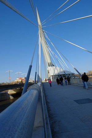 On the Louis-Riel Esplanade Bridge.