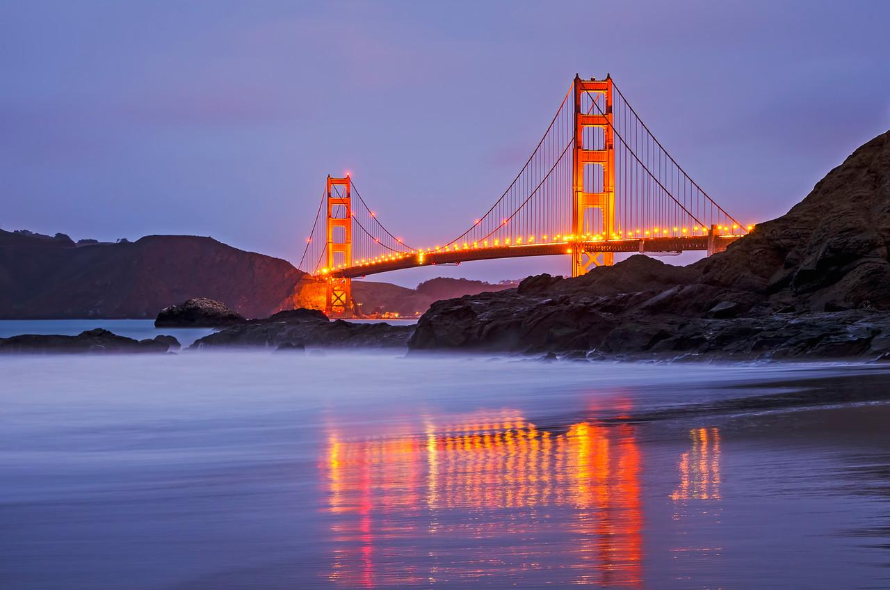 Stormy golden gate bridge, San Francisco