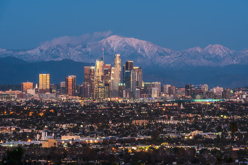 Twilight over Los Angeles and the San Gabriel Mountains
