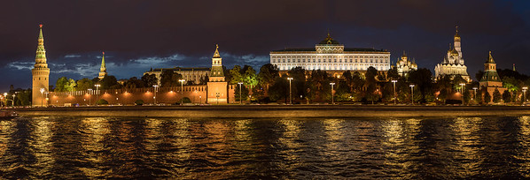 A dusk view of the Kremlin in Moscow  looking north. L-R: Vodovzvodnaya Tower, Spasskaya Tower in the distance, Annunciation Tower, the Grand Kremlin Palace (official residence of the Russian president), Archangel Cathedral, Ivan the Great Bell Tower, & the Secret (Tainitskaya) Tower.