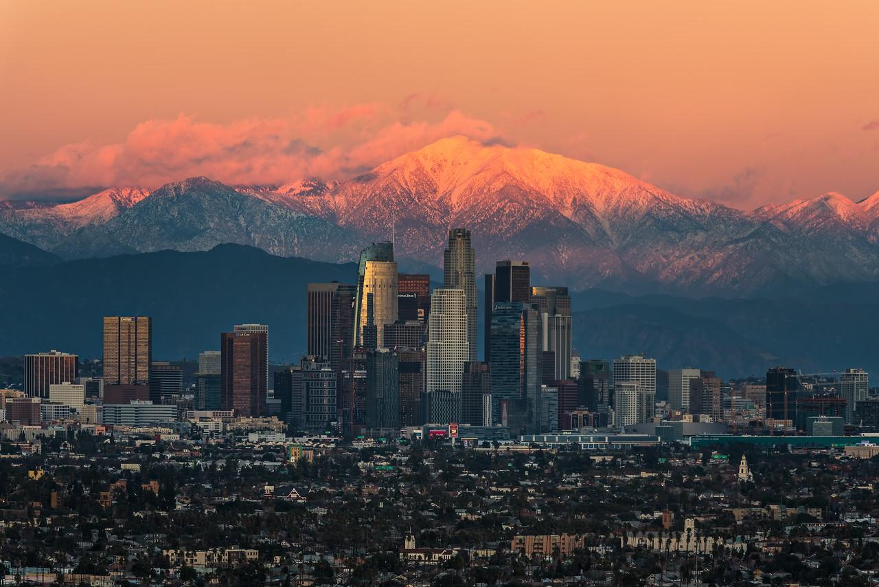 Last light on Mt. Baldy, Los Angeles skyline