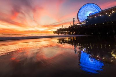 Santa Monica pacific park sunset burn