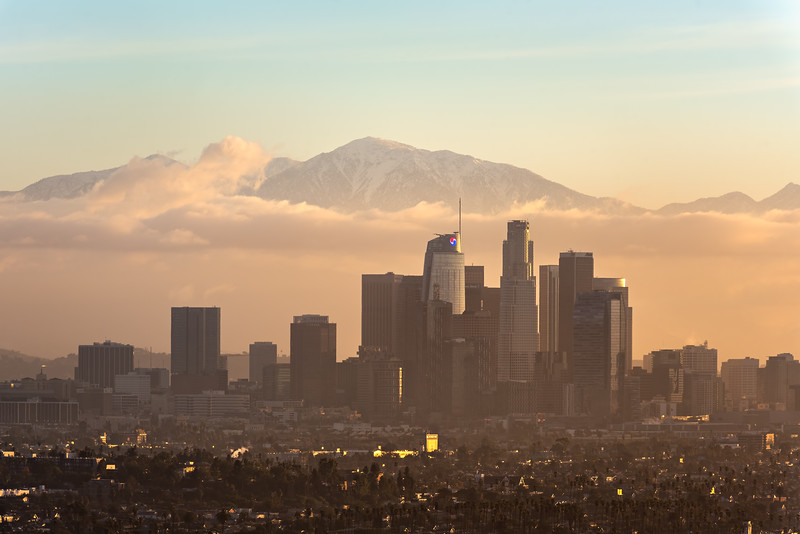Low fog and snow on the San Gabriel mountains, Los Angeles