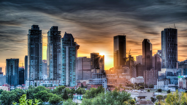 Calgary Sunset With Smokey Clouds