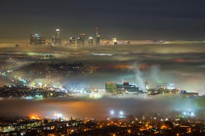 Low fog creeping through Los Angeles