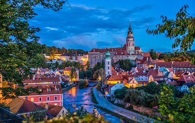 Cesky Krumlov, Czech Republic, at dawn.