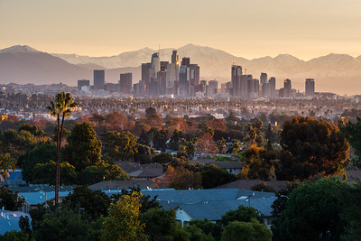 Los Angeles with snow and fall colors
