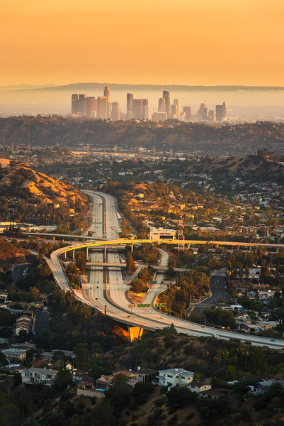 Los Angeles sunset with Glendale Freeway