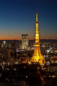 Tokyo Tower with Roppongi Hills at night