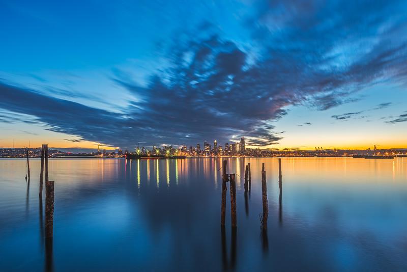 Seattle waterfront twilight from Alki Beach