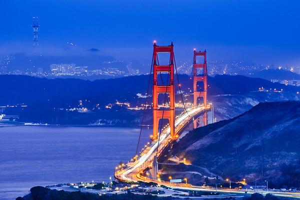 Golden Gate Bridge Time-Lapse at Blue Hour