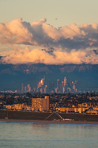 Los Angeles at golden hour after a storm from Palos Verdes