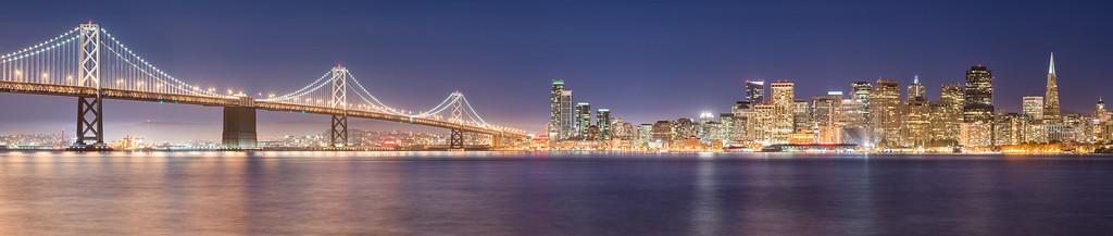 San Francisco Skyline Panorama at Night from Treasure Island