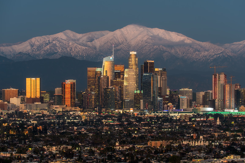 Twilight in Los Angeles after record snow dump on San Gabriel Mountains