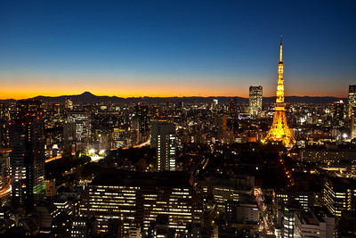 Tokyo Tower with Fuji-san at night