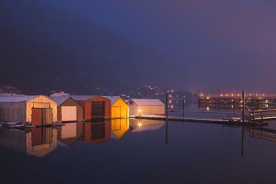 Boathouses. Nelson, B.C. Canada