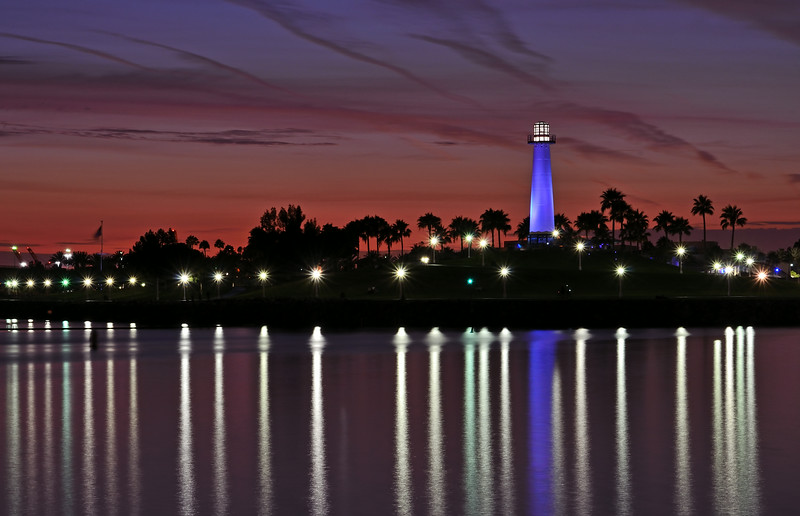 Long Beach Lighthouse at twilight