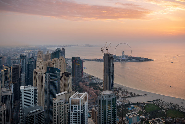 Sunset over Jumeirah Beach and Dubai Eye