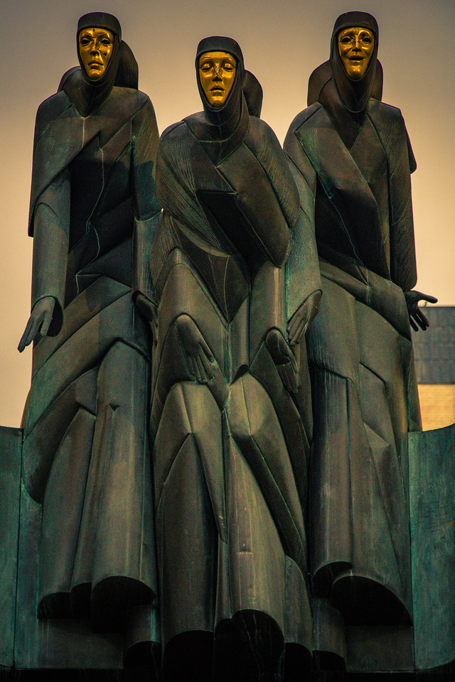 The Three Muses. These lovely ladies sit atop the National Drama Theater. Vilnius, Lithuania. November 2017.