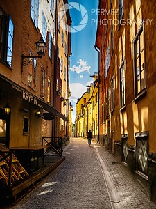 An alley in the old town area of Stockholm. I waited a little to get just one person in the shot. Fortunately, that worked out. The colors of the buildings, the sun and shade, and the curve of the alley made this stand out to me.