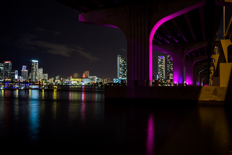View from under the MacArthur Causeway in Miami.