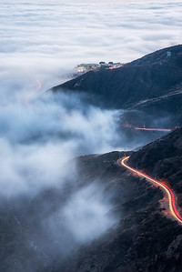Malibu canyon road into the fog