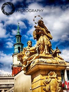 Statue of St. John of Nepomuk in Stary Rynek in Poznan, Poland