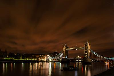 Tower Bridge on a cloudy night