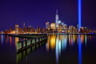 9/11 Tribute in Lights Reflection with One World Trade Center