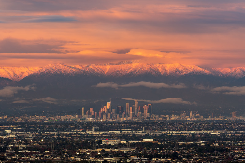 Los Angeles and snow capped San Gabriel mountains from Palos Verdes