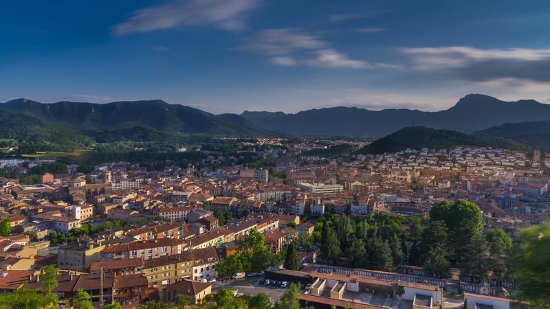 Evening light over the city of Olot in Costa Brava, Spain.