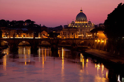St. Peter's Basilica in Rome, fronted by the Tiber River.