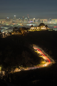 Griffith Observatory with low fog and car trails, Los Angeles CA